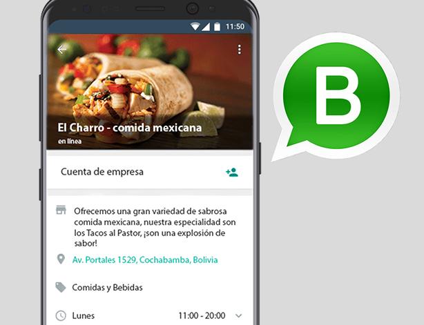 Perfil de empresa de Whatsapp Business en móvil
